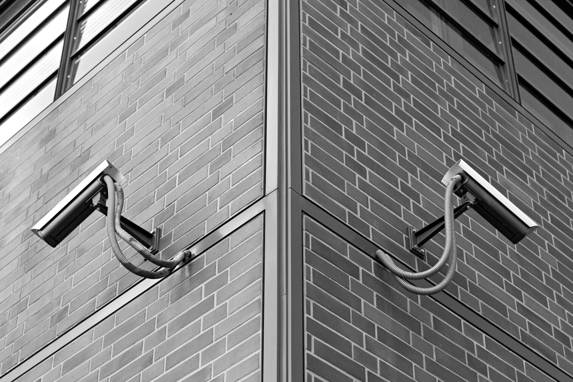 Black and White Image of Symmetric Security Cameras Black and White